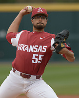 NWA Democrat-Gazette/ANDY SHUPE<br />Arkansas starter Isaiah Campbell delivers to the plate against South Carolina Saturday, April 14, 2018, during the third inning at Baum Stadium. Visit nwadg.com/photos to see more photographs from the game.