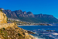Coastal road, Clifton (with Twelve Apostles behind), Cape Town, South Africa.