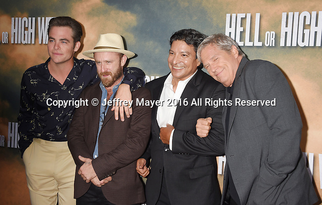HOLLYWOOD, CA - AUGUST 10: (L-R) Actors Chris Pine, Ben Foster, Gil Birmingham and Jeff Bridges arrive at the screening of CBS Films' 'Hell Or High Water' at ArcLight Hollywood on August 10, 2016 in Hollywood, California.