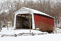 63904-03308 Beeson Covered Bridge at Billie Creek Village in winter, Rockville, IN
