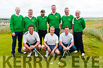 Barton Shield: Members of Tralee Golf Club that took part in the Barton Shield at Ballybunion Golf Club on Sunday last. Front : Eoghan ODonnell, Darren O'Sullivan & Fergal O'Sullivan. Back : Des Fitzgerald, John Rean, David McMahon, Graham Spring, Denis Rean & Paul Hughes.