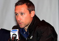 Coach Caleb Porter of the University of Akron at a post game press conference after the 2010 College Cup semi-final against the University of Michigan at Harder Stadium, on December 10 2010, in Santa Barbara, California.Akron won 2-1.