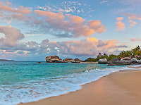 Virgin Gorda, British Virgin Islands, Caribbean <br /> Sunrise on the beach at Spring Bay, Spring Bay National Park