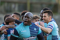 Adebayo Akinfenwa of Wycombe Wanderers celebrates his side's first goal during the Sky Bet League 2 match between Plymouth Argyle and Wycombe Wanderers at Home Park, Plymouth, England on 26 December 2016. Photo by Mark  Hawkins / PRiME Media Images.