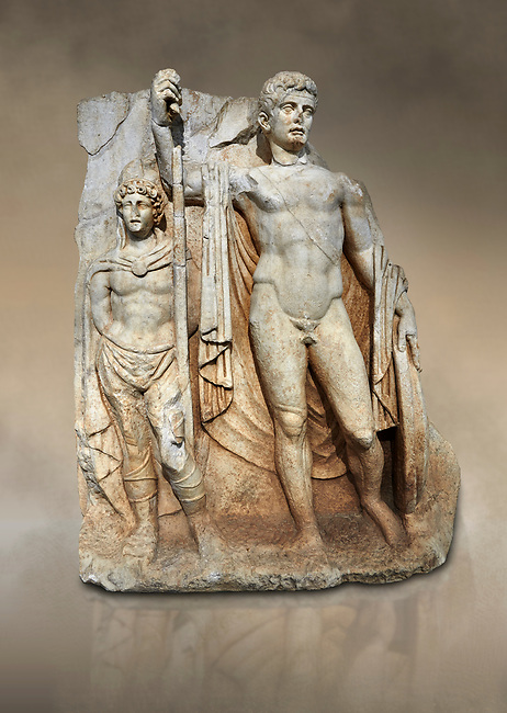 Roman Sebasteion relief  sculpture of emperor Tiberius with a captive Aphrodisias Museum, Aphrodisias, Turkey.  Against an art background.<br /> <br /> The naked emperor Tiberius stands frontally holding a spear and shield wearing a cloak and a sword strap. Besides him stands a barbarian
