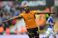 CELe - Wolverhampton Wanderers' Benik Afobe celebrates scoring his side's second goal <br /> <br /> Photographer Ashley Crowden/CameraSport<br /> <br /> The EFL Sky Bet Championship - Wolverhampton Wanderers v Birmingham City - Sunday 15th April 2018 - Molineux - Wolverhampton<br /> <br /> World Copyright &copy; 2018 CameraSport. All rights reserved. 43 Linden Ave. Countesthorpe. Leicester. England. LE8 5PG - Tel: +44 (0) 116 277 4147 - admin@camerasport.com - www.camerasport.com