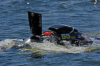 "Frame 4: Jay Gignac, GNH-55 ""Gi Wizz"" returns to the pits with the left sponson blown out and damage to the right.  (Grand National Hydroplane(s)"