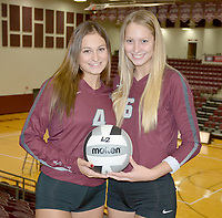 Graham Thomas/Siloam Sunday<br /> Former Siloam Springs volleyball standouts Chloe Price, left, and Ellie Lampton will represent the West All-Stars on Friday in the annual Arkansas High School Coaches Association All-Star Volleyball Match at the Farris Center on the campus of the University of Central Arkansas in Conway.