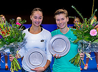 Alphen aan den Rijn, Netherlands, December 16, 2018, Tennispark Nieuwe Sloot, Ned. Loterij NK Tennis, Womans doubles winners: Demi Schuurs (NED) (R) and Lesley Kerkhove (NED) with the trophy<br /> Photo: Tennisimages/Henk Koster