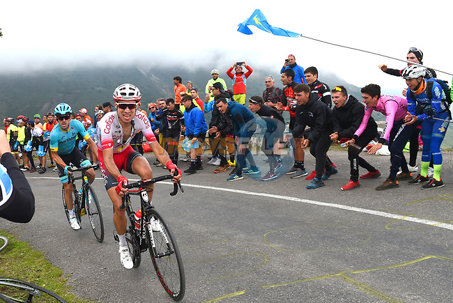 Nicolas Edet (FRA) Cofidis on the final climb of Stage 16 of La Vuelta 2019  running 144.4km from Pravia to Alto de La Cubilla. Lena, Spain. 9th September 2019.<br /> Picture: Karlis | Cyclefile<br /> <br /> All photos usage must carry mandatory copyright credit (© Cyclefile | Karlis)