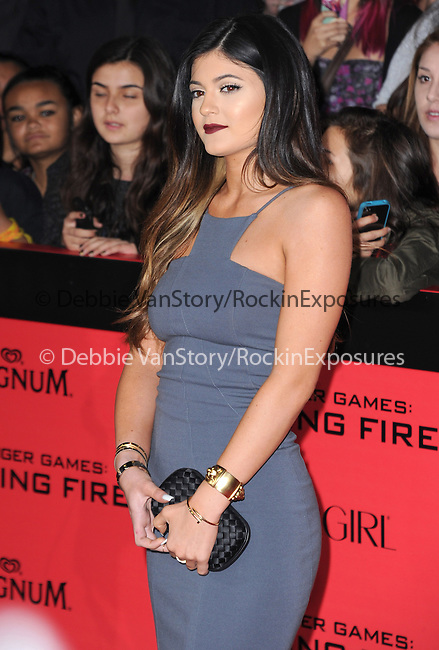 LOS ANGELES, CA - NOVEMBER 18: Kylie Jenner arrives at   THE HUNGER GAMES: CATCHING FIRE L.A. Premiere held at Nokia Live  in Los Angeles, California on November 18,2012                                                                               © 2013  Hollywood Press Agency