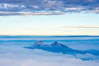 Illiniza Norte, 5,126m (left) and Illiniza Sur, 5,248m (right) Volcanoes, seen from Cotopaxi Volcano 5,897m summit, Cotopaxi Province, Ecuador