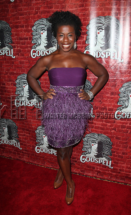 Uzo Aduba.attending the Opening Night Performance After Party for the Broadway Revival of 'Godspell' at Planet Hollywood in New York City.