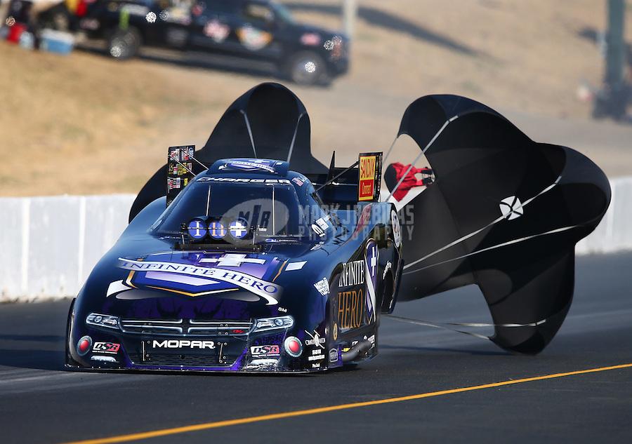 Aug 1, 2015; Sonoma, CA, USA; NHRA funny car driver Jack Beckman during qualifying for the Sonoma Nationals at Sonoma Raceway. Mandatory Credit: Mark J. Rebilas-