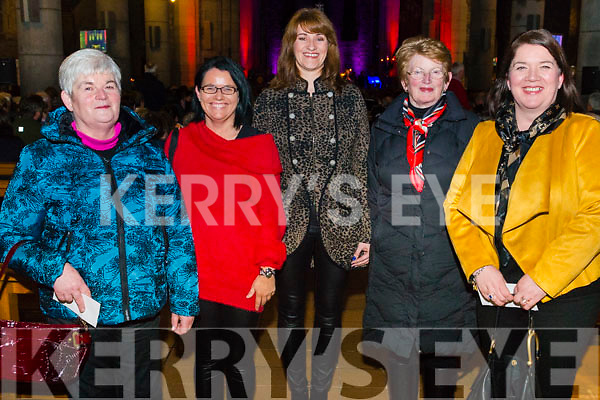 l-r June Deane from Castlemaine, Marion O'Leary from Castlemaine, Catriona McGuire from Kilcummin, Mary Murphy from Cork and Sinead Murphy from Kilcummin pictured at the Liam Lawton Concert in aid of Kilcummin National School in the Killarney Cathedral last Sunday night.