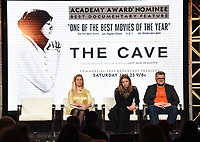 """PASADENA, CA - JANUARY 17: (L-R) Producers Sigrid Dyekjaer, Kirstine Barfod, and Sound Designer Peter Albrechtsen attend the panel for """"The Cave,"""" Storytelling With Courage during the National Geographic presentation at the 2020 TCA Winter Press Tour at the Langham Huntington on January 17, 2020 in Pasadena, California. (Photo by Frank Micelotta/National Geographic/PictureGroup)"""