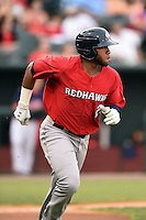 Oklahoma City RedHawks first baseman Jon Singleton (24) runs to first during a game against the Memphis Redbirds on May 23, 2014 at AutoZone Park in Memphis, Tennessee.  Oklahoma City defeated Memphis 12-10.  (Mike Janes/Four Seam Images)