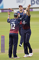 Rob Jones of Lancashire CCC congratulates Saqib Mahmood of Lancashire CCC on the wicket of Sam Robson during Middlesex vs Lancashire, Royal London One-Day Cup Cricket at Lord's Cricket Ground on 10th May 2019
