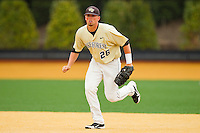 Wake Forest Demon Deacons first baseman Charlie Morgan #26 on defense against the Florida State Seminoles at Wake Forest Baseball Park on March 25, 2012 in Winston-Salem, North Carolina.  The Demon Deacons defeated the Seminoles 7-5.  (Brian Westerholt/Four Seam Images)