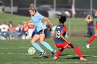 Piscataway, NJ, April 24, 2016.  Midfielder Shawna Gordron (2) of Sky Blue FC eludes forward Crystal Dunn (19) of the Washington Spirit. The Washington Spirit defeated Sky Blue FC 2-1 during a National Women's Soccer League (NWSL) match at Yurcak Field.