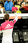 Real Madrid´s Sergio Ramos gives the t-shirt to a supporter during 2014-15 La Liga match between Real Madrid and Levante UD at Santiago Bernabeu stadium in Madrid, Spain. March 15, 2015. (ALTERPHOTOS/Luis Fernandez)