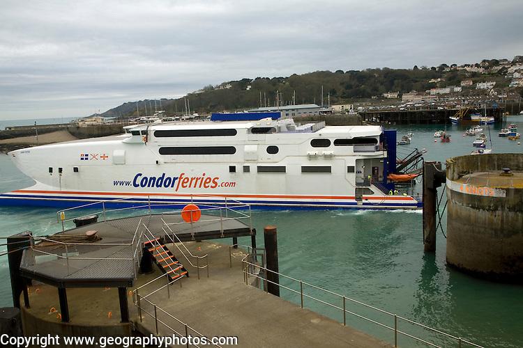 Condor Ferries fast ferry, St Peter Port, Guernsey, Channel Islands, UK