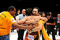 Tomonobu Shimizu (JPN),  Kenji Kaneko, AUGUST 31, 2011 - Boxing : Tomonobu Shimizu of Japan celebrates his split decision victory with Kaneko boxing gym manager and trainer Kenji Kaneko after the WBA super flyweight title bout at Nippon Budokan in Tokyo, Japan. (Photo by Mikio Nakai/AFLO)