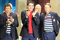 USA Team Players Jason Dufner, Keegan Bradley and Captain Davis Love III on stage at the Closing Ceremony after Sunday's Singles Matches of the 39th Ryder Cup at Medinah Country Club, Chicago, Illinois 30th September 2012 (Photo Colum Watts/www.golffile.ie)