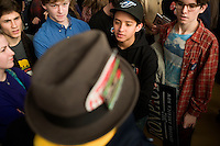A radio reporter interviews youth at a Ron Paul rally at Jet Aviation in Nashua, New Hampshire, on Jan. 6, 2012.  Paul is seeking the 2012 GOP Republican presidential nomination.