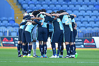 Wycombe Wanderers players huddle prior to the Sky Bet League 2 match between Mansfield Town and Wycombe Wanderers at the One Call Stadium, Mansfield, England on 31 October 2015. Photo by Garry Griffiths.