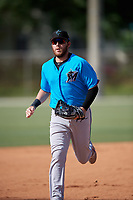 Miami Marlins Austin Dean (44) during a Minor League Spring Training Intrasquad game on March 28, 2019 at the Roger Dean Stadium Complex in Jupiter, Florida.  (Mike Janes/Four Seam Images)