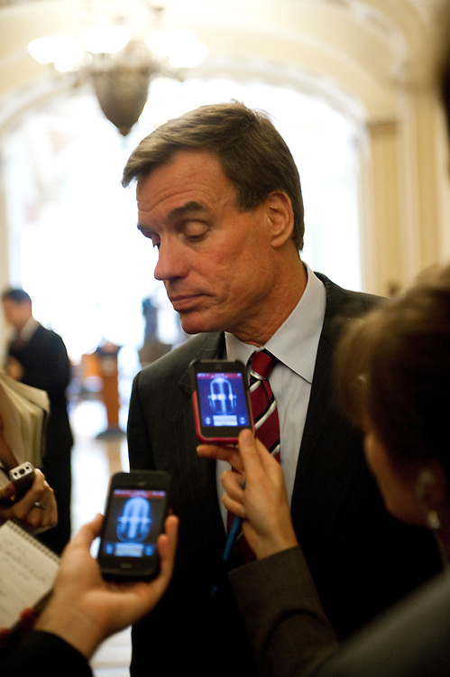 WASHINGTON, DC - July 19: Sen. Mark Warner, D-Va., talks to reporters before the Senate Democrat policy luncheon at the U.S. Capitol. (Photo by Scott J. Ferrell/Congressional Quarterly)