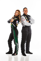 Feb 10, 2016; Pomona, CA, USA; NHRA top fuel driver Dave Connolly (right) and teammate Leah Pritchett pose for a portrait during media day at Auto Club Raceway at Pomona. Mandatory Credit: Mark J. Rebilas-USA TODAY Sports