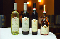 The Degenfeld winery in Tarcal, Tokaj: Wine bottles with Tokaji Muscat Lunel 2002 (semi-dry white wine), Tokaji Furmint 2000 (dry white), Tokaji Muscat Lunel 2000 Noble Late Harvest (sweet), Tokaji Aszu 5 puttonyos 1996. Degenfeld is a Tokaj producer in Tarcal owned by the count and countess von Degenfeld  Credit Per Karlsson BKWine.com