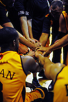 The Mountainairs huddle during the national basketball league match between Wellington Saints and Taranaki Mountain Airs at TSB Bank Arena, Wellington, New Zealand on Friday, 17 April 2015. Photo: Dave Lintott / lintottphoto.co.nz