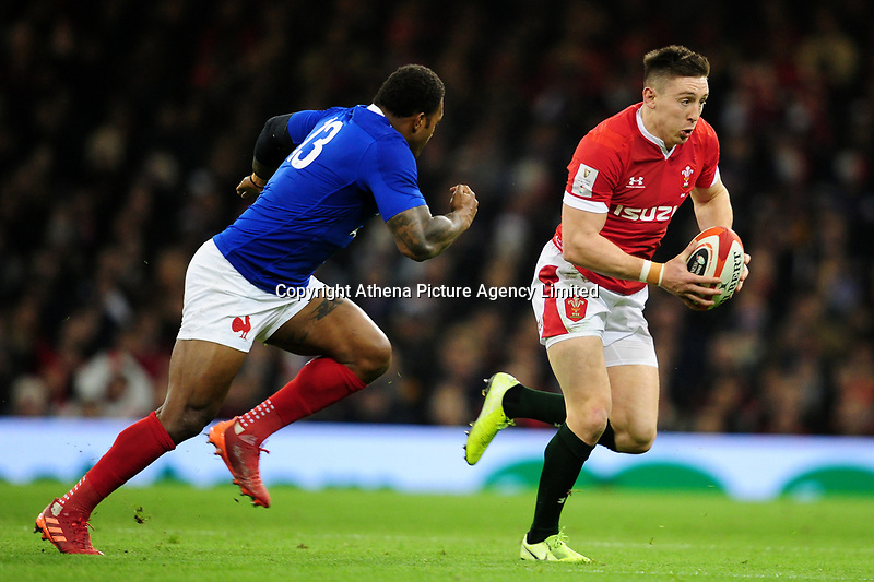 Josh Adams of Wales in action during the Guinness Six Nations Championship Round 3 match between Wales and France at the Principality Stadium in Cardiff, Wales, UK. Saturday 22 February 2020