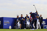Thorbjorn Olesen Team Europe tees off the 9th tee during Friday's Fourball Matches at the 2018 Ryder Cup, Le Golf National, Iles-de-France, France. 28/09/2018.<br /> Picture Eoin Clarke / Golffile.ie<br /> <br /> All photo usage must carry mandatory copyright credit (© Golffile | Eoin Clarke)