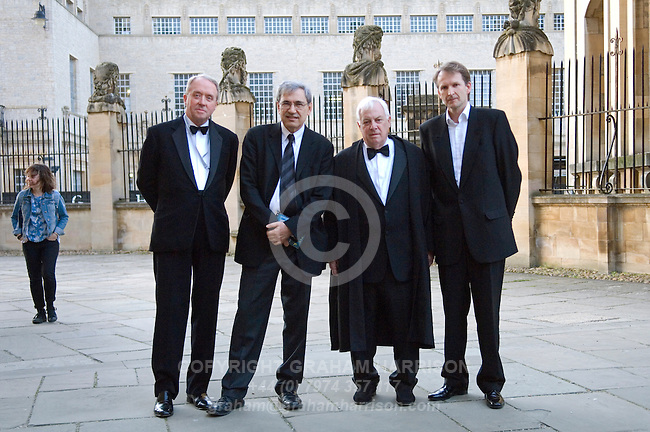 (L-R) John Harris, Orhan Pamuk, Lord Patten and Jason Cowley outside the Sheldonian Theatre before the Chancellor's Lecture at the FT Weekend Oxford Literary Festival, Oxford, UK. Saturday 29 March 2014.<br /> <br /> PHOTO COPYRIGHT Graham Harrison<br /> graham@grahamharrison.com<br /> <br /> Moral rights asserted.