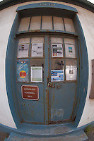 Lighthouse Door at Lime Kiln State Park (Fisheye), San Juan Island, Washington, US