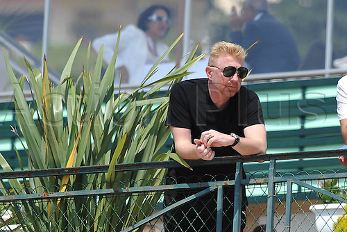 14.04.2014. Monte Carlo. Boris Becker (ger) watches nadal at practise: Monte Carlo Rolex Masters