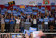 "Charlotte, NC - March 14, 2016: 2016 Democrat presidential candidate Bernie Sanders waves to supporters during a campaign event at the PNC Music Pavilion in Charlotte, North Carolina, March 14, 2016, one day before 'Super Tuesday"" voting.  (Photo by Don Baxter/Media Images International)"