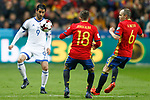 Spain's Jordi Alba (c) and Andres Iniesta (r) and Israel's Lior Refaelov during FIFA World Cup 2018 Qualifying Round match. March 24,2017.(ALTERPHOTOS/Acero)