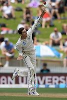 1st December 2019, Hamilton, New Zealand;  Mitchell Santner bowls.<br /> International test match cricket, New Zealand versus England at Seddon Park, Hamilton, New Zealand. Sunday 1 December 2019.