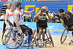 November 18 2011 - Guadalajara, Mexico:   Adam Lancia of Team Canada defends in the CODE Alcalde Sports Complex at the 2011 Parapan American Games in Guadalajara, Mexico.  Photos: Matthew Murnaghan/Canadian Paralympic Committee