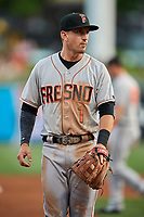 Colin Walsh (1) of the Fresno Grizzlies during the game against the Salt Lake Bees at Smith's Ballpark on September 3, 2017 in Salt Lake City, Utah. The Bees defeated the Grizzlies 10-8. (Stephen Smith/Four Seam Images)