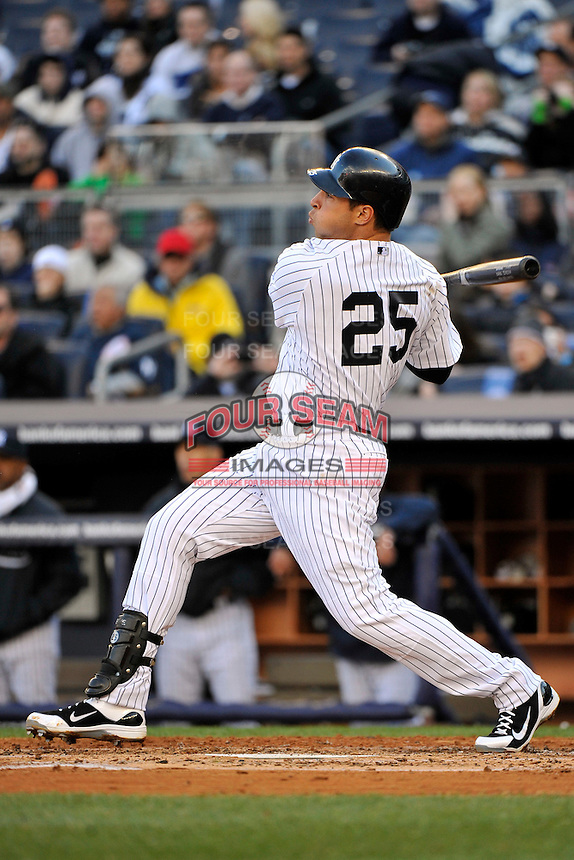 Apr 02, 2011; Bronx, NY, USA; New York Yankees infielder Mark Teixeira (25) during game against the Detroit Tigers at Yankee Stadium. Yankees defeated the Tigers 10-6. Mandatory Credit: Tomasso De Rosa