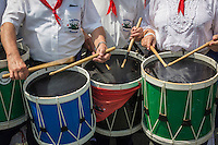 France, Aquitaine, Pyrénées-Atlantiques, Pays Basque, Ciboure:  La Tamborrada Mariñelak de Ciboure, tambourinade des pêcheurs   //  France, Pyrenees Atlantiques, Basque Country, Ciboure: The Tamborrada Mariñelak Ciboure, fishermen drums