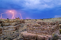 Summer thunderstorm with lightning at Lomaki Ruins, an ancient puebloan indian site at Wupatki National Monument, Arizona, AGPix_0383.