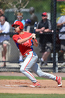 Philadelphia Phillies outfielder Cameron Perkins during a minor league Spring Training game against the New York Yankees at Carpenter Complex on March 21, 2013 in Clearwater, Florida.  (Mike Janes/Four Seam Images)
