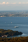Aerial view of Ferry boats on Puget Sound leaving bainbridge Island